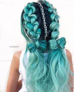 70 Charming Braided Hairstyles Perfect Double Braids Ponytails ❤️ Do not believe in the myth that braided hairstyles are difficult to do. We have picked some braids that are trendy, messy, and, most importantly, easy. Cute Hair Colors, Pretty Hair Color, Beautiful Hair Color, Hair Dye Colors, Pretty Hairstyles, Braided Hairstyles, Hairstyles Haircuts, Mermaid Hairstyles, Braided Ponytail