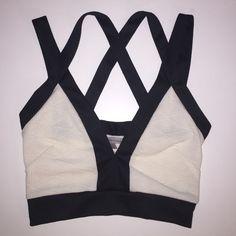 Charlotte Russe Tops - Black & White Bandage Crop Top