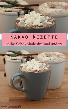 Hot chocolate recipes: Special cocoa recipes- Cocoa recipes: Three ideas for hot chocolate, for example with marshmallows: cocoa with coconut! And many wonderful cocoa ideas for a cozy, warm winter mood Hot Chocolate Bars, Hot Chocolate Recipes, Chocolate Flavors, Budget Freezer Meals, Cooking On A Budget, Easy Meals, Cocoa Recipes, Coffee Recipes, Easy Recipes