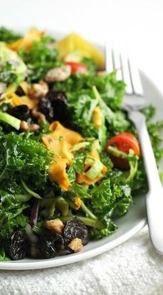 Curried Kale Salad with Crispy Sweet Potato (easy vegetarian dinner recipe)