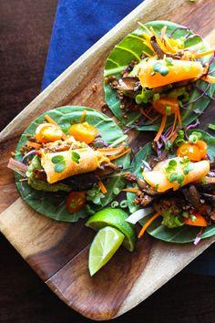 Korean BBQ Tacos: a wonderfully flavorful Korean-Mexican fusion dish (raw, vegan).