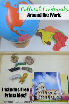 Cultural Landmarks around the world, a montessorii inspired culture activity for preschoolers with a free printable.