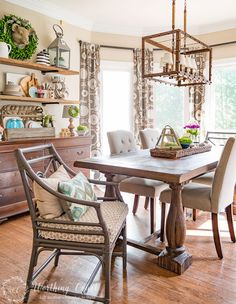Rustic farmhouse breakfast area dressed for spring | Worthing Court Blog