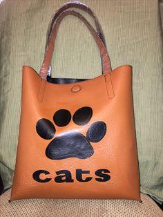 Reversible black tan tote purse bag wildcat cats paw $30