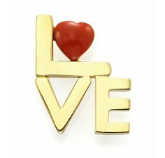 All you need is:  A Coral and Gold 'Love' Brooch Pendant, by Cartier, Aldo Cipullo, circa 1970.