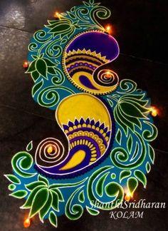15 Best Rangoli Designs Ideas photos by bondita | HappyShappy Indian Rangoli Designs, Rangoli Designs Latest, Latest Rangoli, Simple Rangoli Designs Images, Rangoli Designs Flower, Colorful Rangoli Designs, Beautiful Rangoli Designs, Kolam Designs, Flower Rangoli