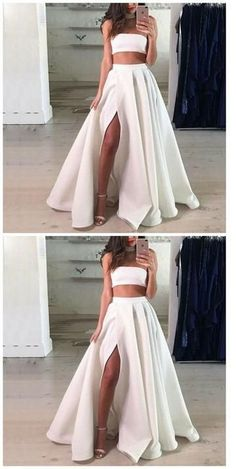 Prom Dresses Ball Gown, Two Piece Strapless Split Front White Long Prom dress, from the ever-popular high-low prom dresses, to fun and flirty short prom dresses and elegant long prom gowns.