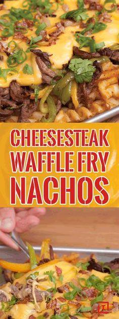 Philly Cheesesteak Waffle Fry Nachos Recipe Video - Thrillist