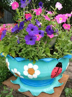 ** Learn To Make Planter Containers Out Of Recycled Tires @domovenokk