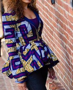 African Wax Print Peplum Jacket - Also available in solid colors. $145.00, via Etsy. #ItsAllAboutAfricanFashion #AfricanPrints #kente #ankara #AfricanStyle #AfricanInspired #StyleAfrica #AfricanBeauty #AfricanFashion