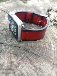 dbda0a6f29e Red and black leather Apple watch strap completely handmade from genuine  Italian leather and handsewn with