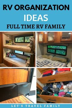RV Organization ideas - Living in a motorhome full-time with 4 kids, how do we keep organized. Watch our RV tour and see some pictures and ideas on how we organize our Class C RV. c rv storage ideas Living In A Motorhome Full Time With 4 Kids Rv Camping Checklist, Camping Car, Camping With Kids, Camping Hacks, Camping Ideas, Rv Hacks, Camping Essentials, Family Camping, Camping Cabins