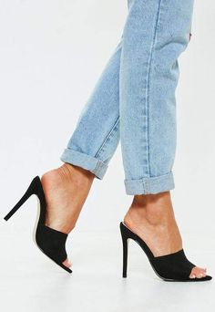 Put your best foot forward in a brand new pair of women's shoes from Missguided. Take your pick of heels, flats, sneakers and more! Peep Toe Mules, Mules Shoes, Shoes Heels, High Heels, Heels Outfits, Stilettos, Stiletto Heels, Cute Black Heels, Black Shoes