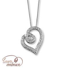 Loves Embrace 10K White Gold  Carat t.w. Diamond Necklace