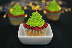 Christmas tree in a cupcake