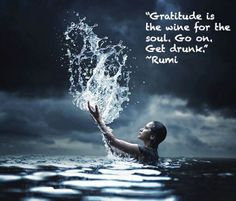 """""""Gratitude is the wine for the soul. Go on get drunk!"""" ~Rumi ..*"""