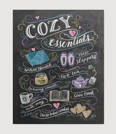 Escape from the cold, light a candle, and surround yourself with all the cozy necessities. This design illustrates all the best things about cozying up and staying in. Fuzzy slippers and a blanket wil