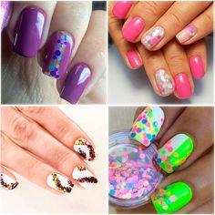 Идеи для применения конфети. В качестве декора для ногтей можно использовать стразы и блестки, а также модную в последнее время пудру. Такой маникюр будет выглядеть эффектно и ярко. #nails #naildesign #nailart #tufishop #beautifulnails #prettynails #lovenails #nailcare