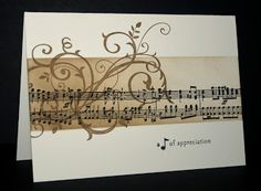handmade card from Shelley's Stamping Ground . sponging and stmping collage style . band with sheet music and a flourish . Scrapbooking, Scrapbook Cards, Cute Cards, Diy Cards, Pretty Cards, Musical Cards, Stampin Up Karten, Tampons, Card Tags