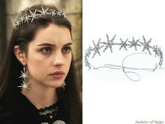 Queen Mary wears Jennifer Behr Estelle Circlet / Reign TV Show Fashion - - Reign Tv Show, Reign Mary, Reign Dresses, Reign Fashion, Circlet, Head Accessories, Queen Mary, Tiaras And Crowns, Hair Jewelry