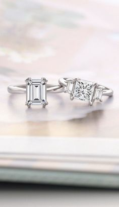 These modern and elegant diamond engagement rings are so unique.