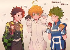 3 best anime right here! Demon slayer, The Promise to Neverland and My Hero Academia ❤ I Love them! Otaku Anime, Manga Anime, Fanarts Anime, Anime Demon, Anime Characters, Anime Art, I Love Anime, All Anime, Anime Guys