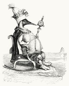 J.J.Grandville  The King of the auks, from  Vie privée et publique des animaux (Public and Private Life of Animals), 1867.