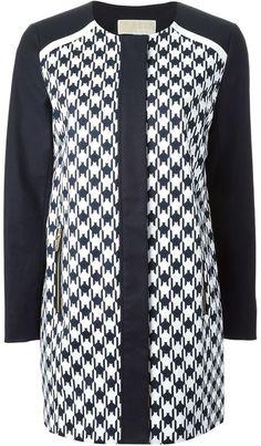 9d9dcbe31c0b80 $253, MICHAEL Michael Kors Michl Michl Kors Houndstooth Panel Coat. Sold by  farfetch.