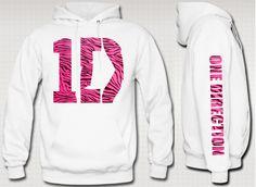 One Direction PINK ZEEBRA Printed Hoodie. $47.95, via Etsy.
