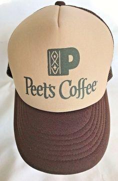 e93d5f93b5a Peet s Coffee Mesh Trucker Hat Snapback Brown Tan Foam Cap