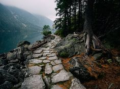 The old stone path around the lake  Morskie Oko, in Poland                                                                                                                                                                                 More