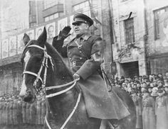Marshal of the Soviet Union G.K. Zhukov on horseback.During the victory parade in Moscow in June 1945, Zhukov was allowed by Stalin to take the salute of the Red armed forces because of Stalin's fear that if he were to ride into Red Square on a stallion, he could be thrown and humiliated in front of millions as he was not a competent rider.Zhukov thus arrived triumphantly at the gallop in a square entirely covered with cobblestones, one of the harshest surfaces for a spirited cavalry horse.
