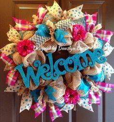 Spring Wreath, Burlap Wreath, Deco Mesh Wreath, Welcome Wreath, Turquoise Wreath Burlap Crafts, Wreath Crafts, Diy Wreath, Wreath Burlap, Wreath Ideas, Wreaths And Garlands, Deco Mesh Wreaths, Easter Wreaths, Holiday Wreaths