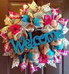Spring Wreath, Burlap Wreath, Deco Mesh Wreath, Welcome Wreath, Turquoise Wreath