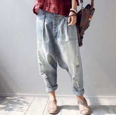 Hot-New-Women-039-s-Holes-Pants-Trousers-Denim-Vogue-Drop-Crotch-Jeans-Harem-Pants