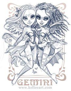 Zodiac Series - Gemini sketch by *KelleeArt on deviantART Gemini Art, Gemini And Scorpio, Gemini Zodiac Tattoos, Gemini Symbol, Gemini Woman, Aquarius, Zodiac Art, Zodiac Signs, Tattoos 3d