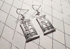 Silver Police Box Earrings inspired by Doctor Who TARDIS  - Sterling silver hooks - http://www.artfire.com/ext/shop/product_view/5534084