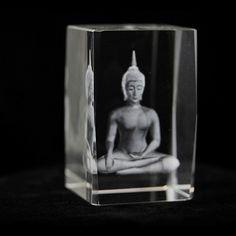 Kristal laser Thaise Boeddha rechthoekig - 8x5x5 cm (2 stuks) -