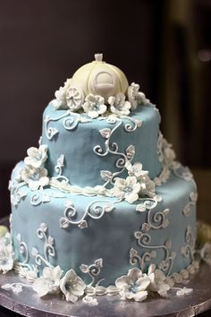 Cinderella Wedding Cake by theninjadeliciousness  Love the small white flower :3