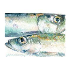 Watercolor Herring For Him Fish Print Herring Print Fish