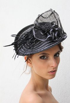 Silver Kentucky derby facinator hat Black by IrinaSardarevaHats