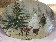 Pottery Barn DEER IN THE SNOW PLATTER Holiday Christmas Platter~ NEW~ RARE!