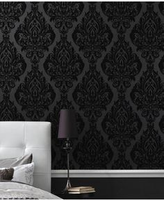 AHH Love the black on grey wallpaper! ... bedroom wall here we come!