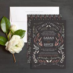Rustic Foliage Wedding Invitations by Amy Heitman | Elli