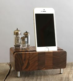 Triple Tubes Walnut iPhone Dock | This wood dock looks just as handsome when it's charging up yo... | Mobile Phone Accessories