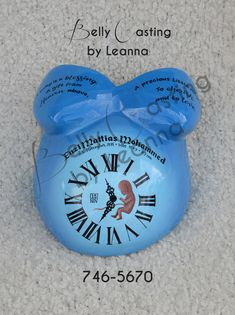 This design concept was disccused by the dad, he wanted an ombre effect background, roman numberal clock displaying the child's time of birth along with the date, a fetus on clock's face, and hand painted on name, birthday information and poem. Done by : Belly Casting by Leanna Location: Trinidad and Tobago. Belly Casting, Clock Display, Ombre Effect, Trinidad, Poem, Roman, It Cast, Hand Painted, Concept
