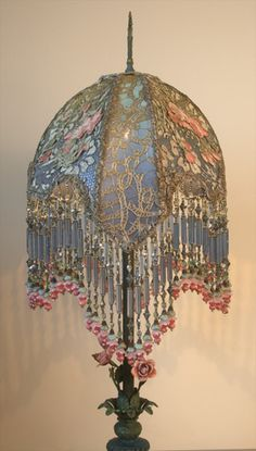 """Victorian Shadowbox Lampshade with French Embroidery.I would LOVE to have this in my bedroom of """"shades of blue"""" - gorgeous! Victorian Lamps, Antique Lamps, Antique Lighting, Vintage Lampshades, Art Deco Lamps, I Love Lamp, Cool Lamps, Tiffany Lamps, Street Lamp"""