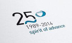 Logo 25 Aniversario Asturfeito Company Anniversary, Anniversary Logo, Logos, Logo Branding, Logo Aniversario, Water Bond, Logo Design, Graphic Design, Human Resources