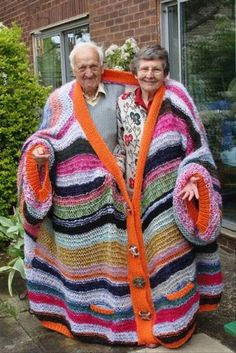 Old people + handmade snuggie for two. I want to grow old with you.I want a relationship where I would be happy to wear this hideous snuggie sweater at You know old people stay cold anyways.