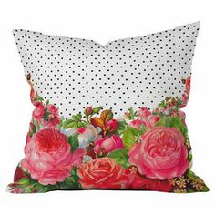 """Made in the USA, this charming pillow pairs a polka-dot motif with lush floral blossoms.  Product: PillowConstruction Material: Woven polyester coverColor: MultiFeatures:  Zipper closureDesigned by Allyson Johnson for DENY DesignsInsert included Dimensions: 18"""" H x 18"""" WCleaning and Care: Machine wash cover"""